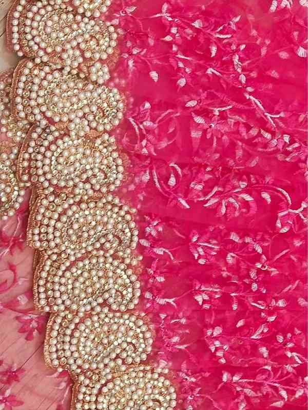 Pink Colored Net With Embroidery Heavy Multi Work Pearl Diamond Stone Saree