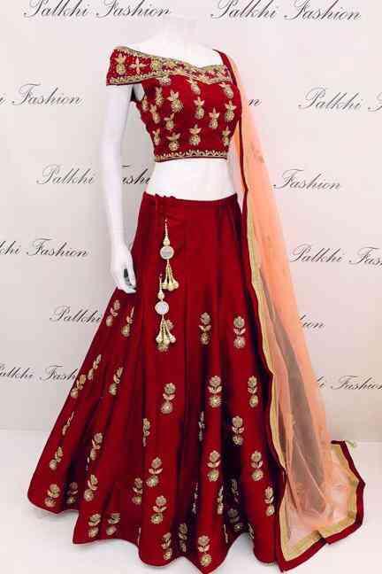 Tapeta Silk Red Codding Embroidered Lehenga Choli With Matching Blouse - DVDLMC9040A