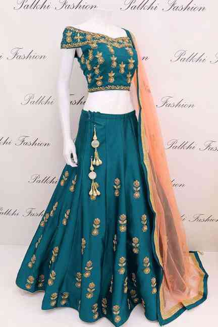 Tapeta Silk Turquoise Codding Embroidered Lehenga Choli With Matching Blouse - DVDLMC9040B