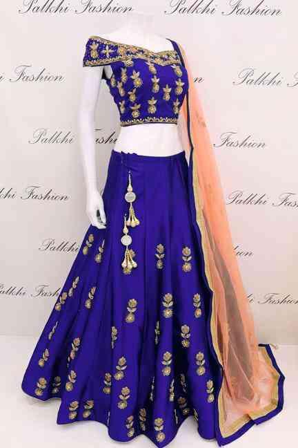 Tapeta Silk Blue Codding Embroidered Lehenga Choli With Matching Blouse - DVDLMC9040D