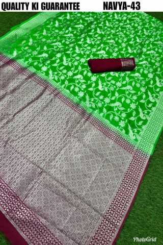 Green Colored Banarasi Silk Saree With Blouse - DVDN43A