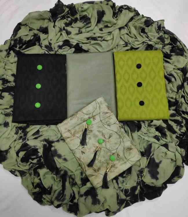 Green Shade Pink 3 Tops Fabric Jaam Butti Jecard and cotton jecard fabric Dress Material