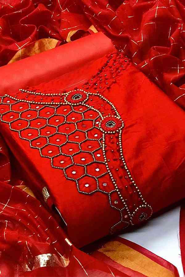 Gorgeous Red Heavy Chanderi Modal With Excellent Khatli Work Dress Material