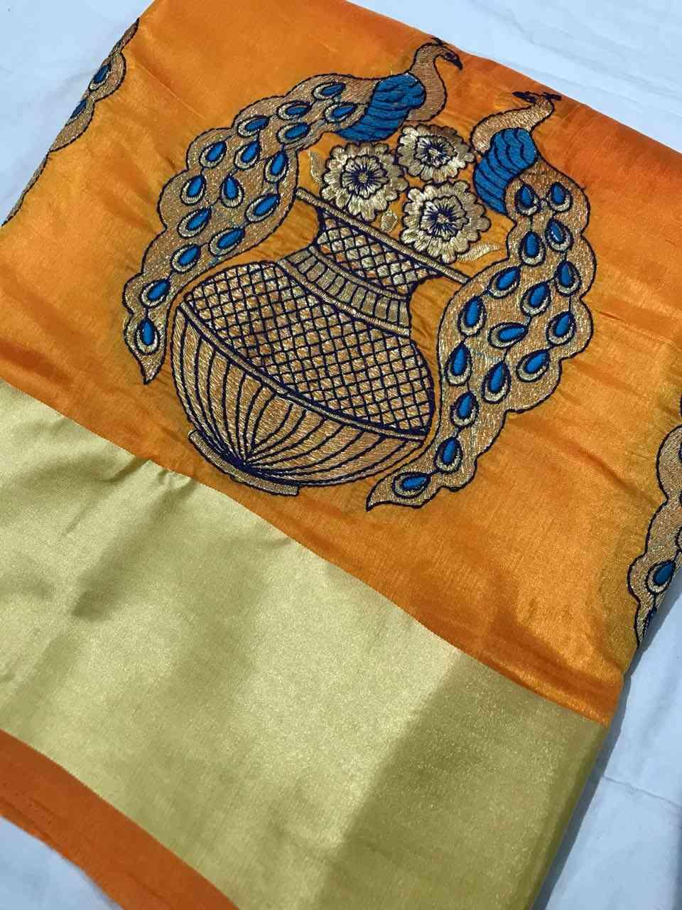 Turmeric Yellow Colored Kalash Peacock Sanna Patta Silk Saree With Banglory Silk Blouse - DVDS11D