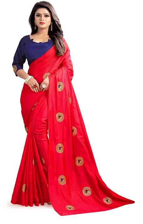 Sanna Silk Red Colored Saree With Banglory Silk Blouse - DVDS12D
