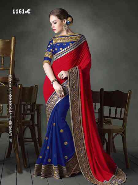 Blue - Maroon Georgette Saree With Blouse For Women - DVDSDN1161F