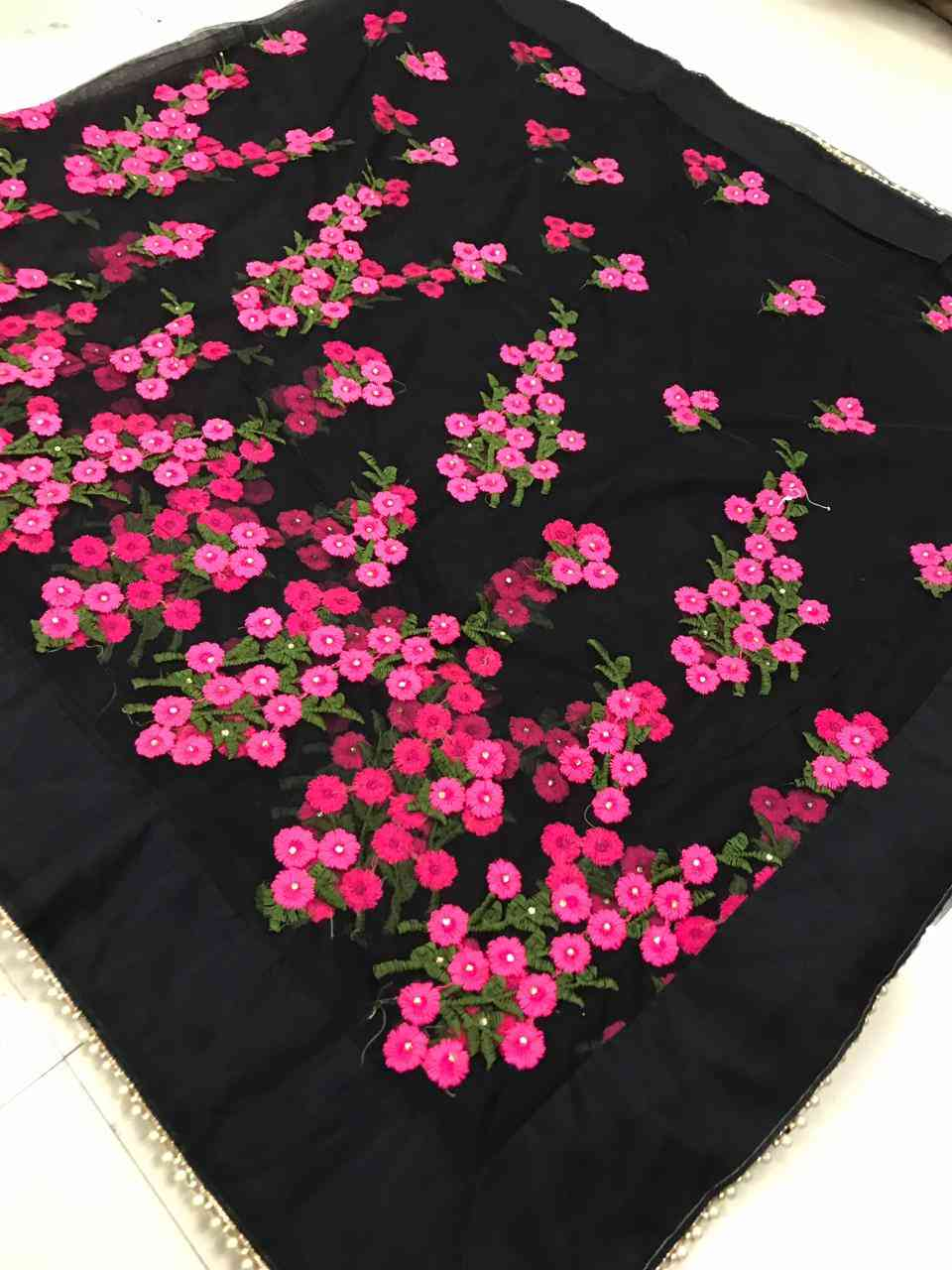 Black Colored Net Saree With Blouse For Women - DVDSDNPC1199D