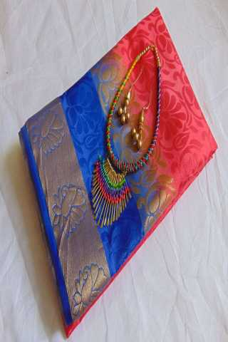 Modish Red - Blue Color Embose Silk Solid Pattern Saree With Blouse - EmboseRedblue  30""