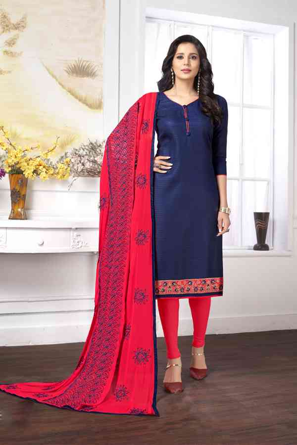 Cotton Butti Designer Embroidered Blue Colored Dress Material With Dupatta