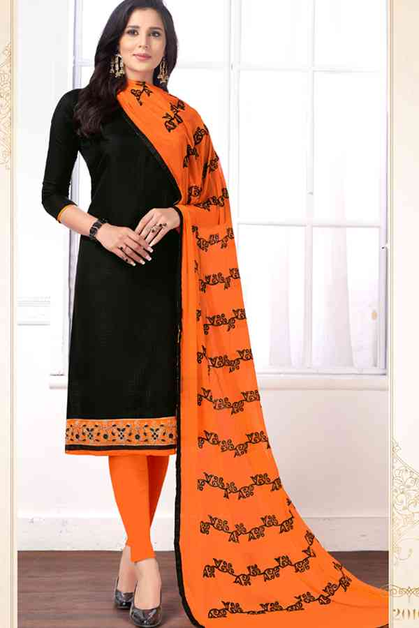 Cotton Butti Designer Embroidered Black Colored Dress Material With Dupatta