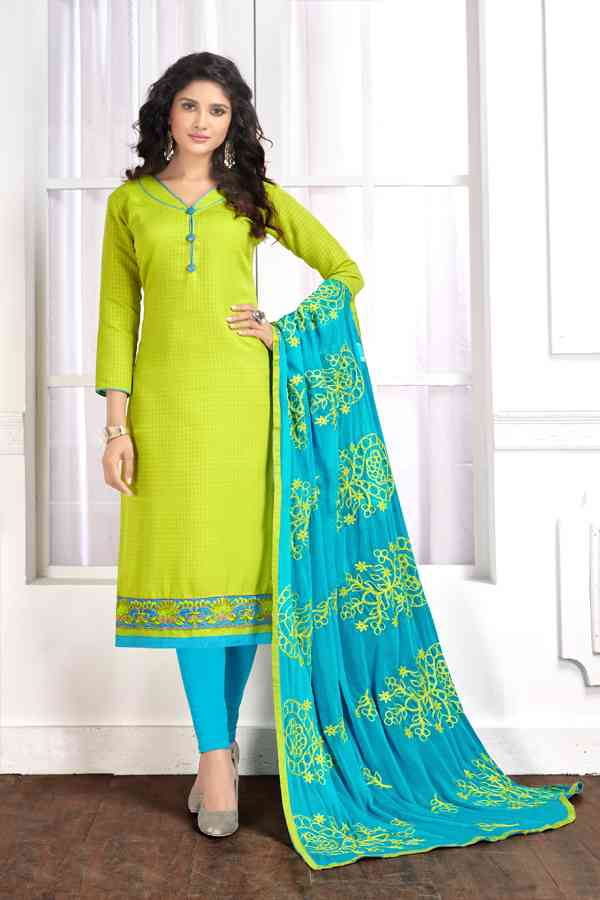 Cotton Butti Designer Embroidered Green Colored Dress Material With Dupatta
