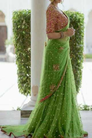 Magical Green Color Net Embroidered Saree