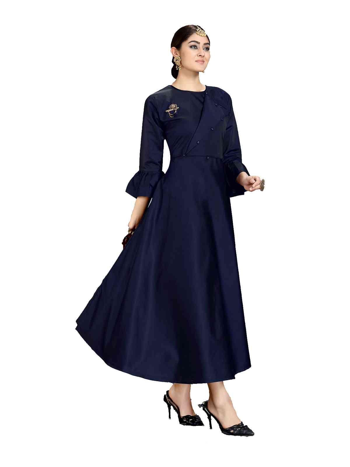 Tapeta Silk Dark Blue Ready To Wear Kurti For Women - HAYAK1001