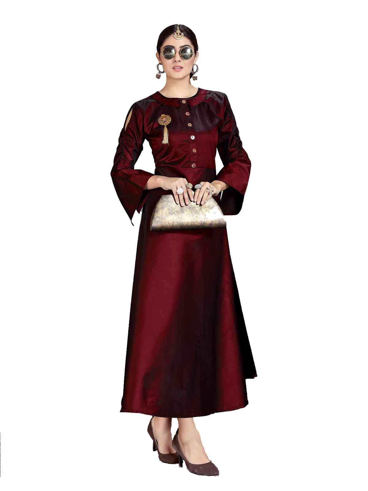 Tapeta Silk Maroon Ready To Wear Kurti For Women - HAYAK1002