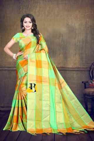 Ultimate Multicolored Poly Cotton Checks Print  Zari Pallu Saree