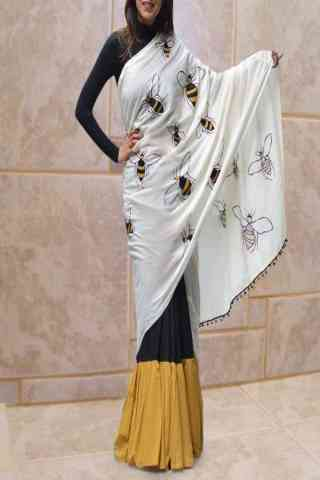 Desirable Multi Color Designer Silk Honey Bee Printed Saree   30""