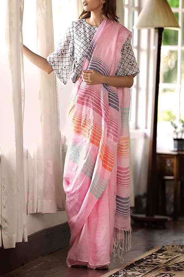 Adorning Light Pink Colored Khadi Silk Designer Saree For Women