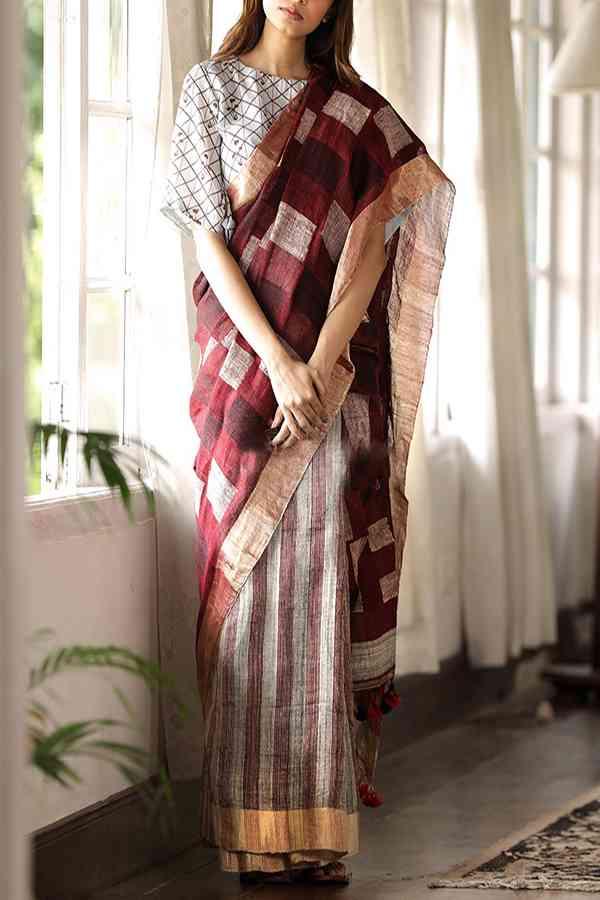 """Unique Multi Colored Khadi Silk Designer Saree For Women   30"""""""