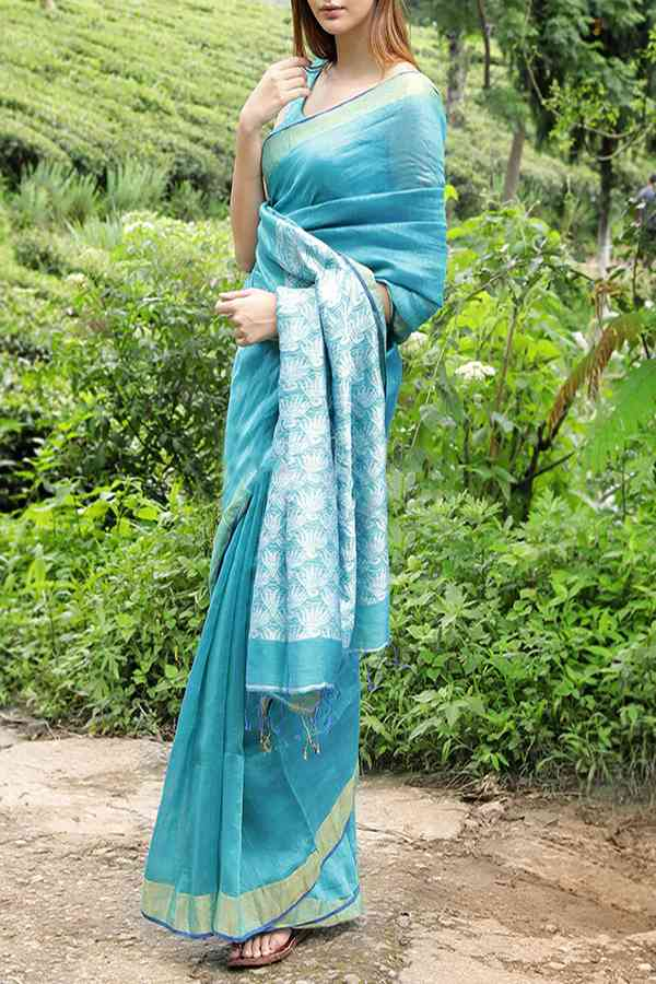 Delightful Light Blue Colored Khadi Silk Designer Saree For Women