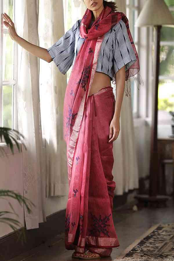 "Opulent Pink Colored Khadi Silk Designer Saree For Women   30"""