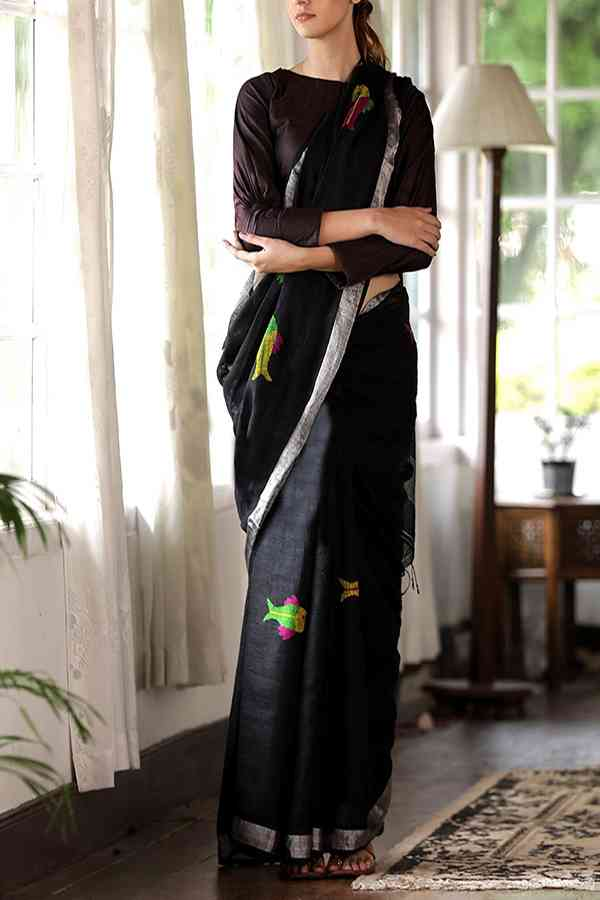 Innovative Black - Silver Colored Khadi Silk Designer Saree For Women