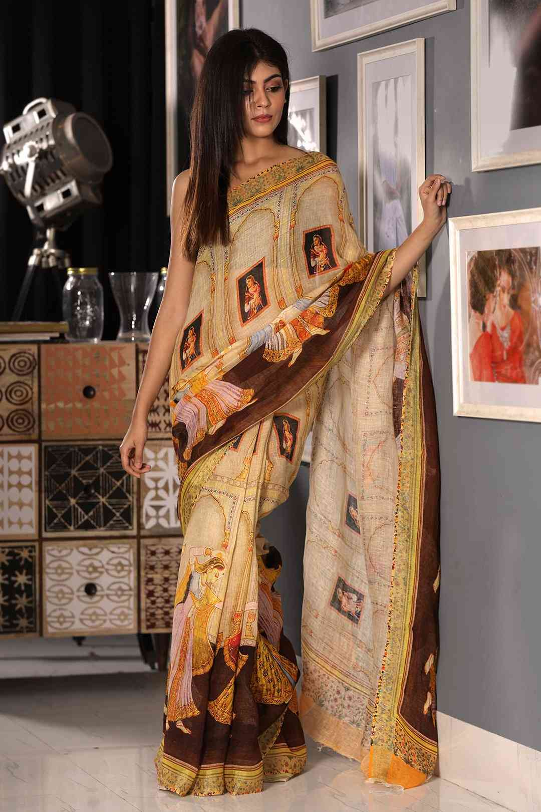 Multi Colored Printed Khadi Silk Saree With Blouse