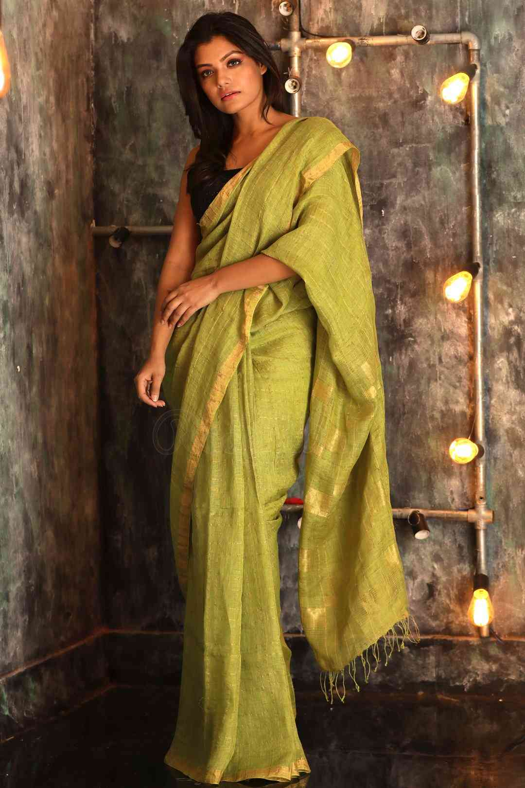 Pista Colored solid Khadi Silk Saree With Blouse For Women