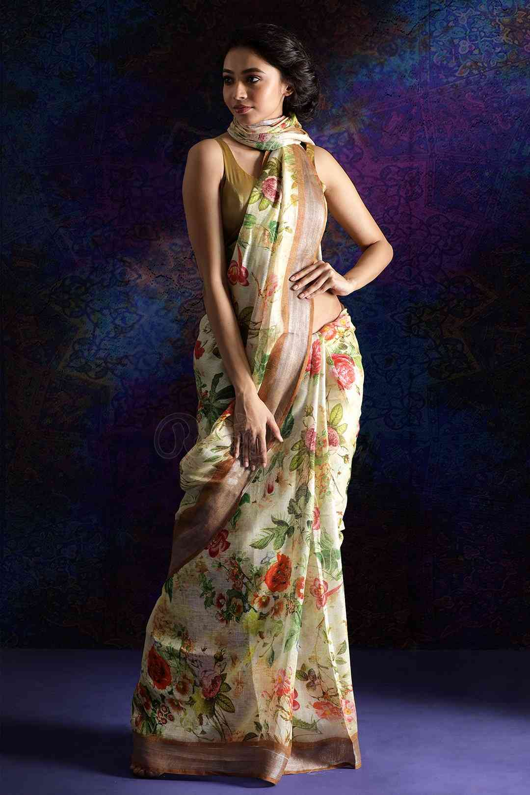 Cream Colored Flower Print Khadi Silk Saree With Blouse For Women