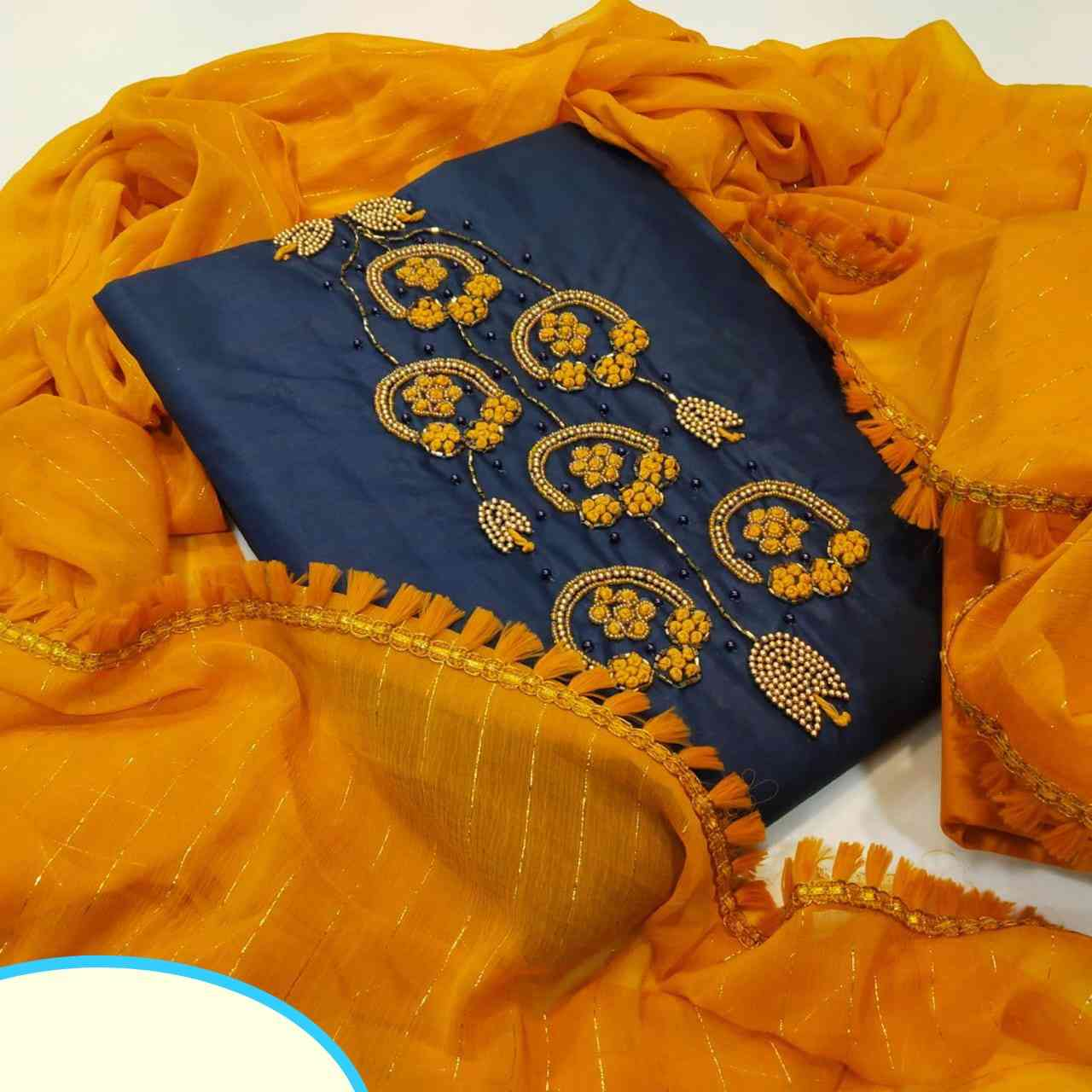 Navy Blue Khadi Cotton Top With Heavy Indo Cotton Bottom Embroidery Work Dress Material