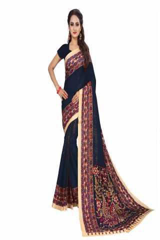 Magnificant Black Kalamkari Bhagalpuri Soft Silk Saree - KalamBlack