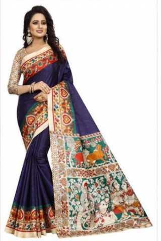 Dynammic Blue Color Kalamkari Heavy Bhagalpuri Soft Khadi Silk Saree - Kalamkariblue