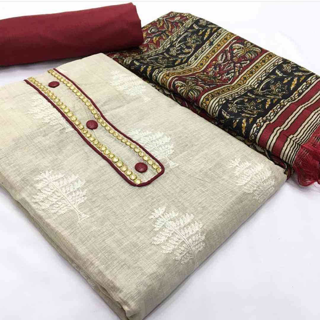 White And Maroon Khadi Cotton Top With Heavy Indo Bottom Dress Material