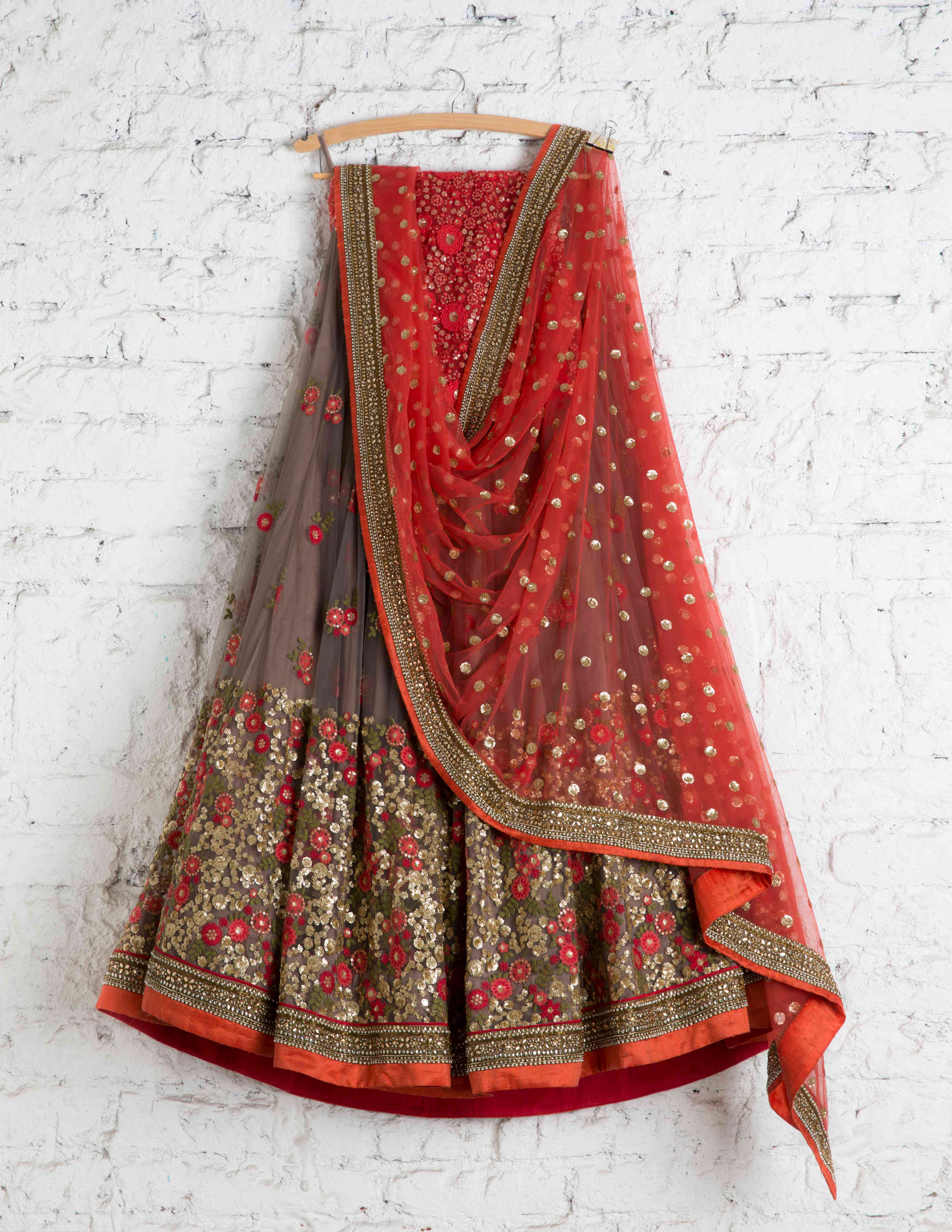 Net  Shantoon brown Embroidered Semi Stitched Lehenga With Dupatta - LC170
