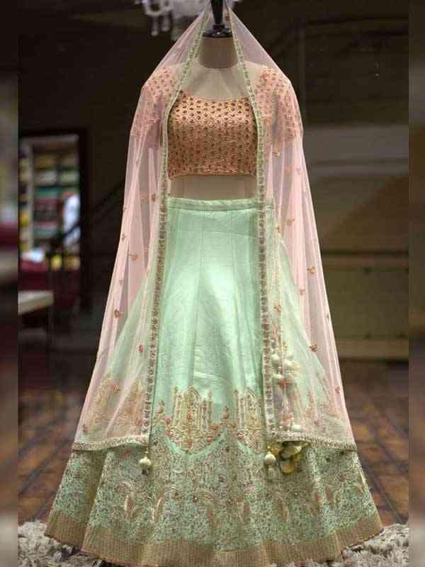 Attractive Pista Green Colored Wedding Wear Embroidered Lehenga Choli - LC18