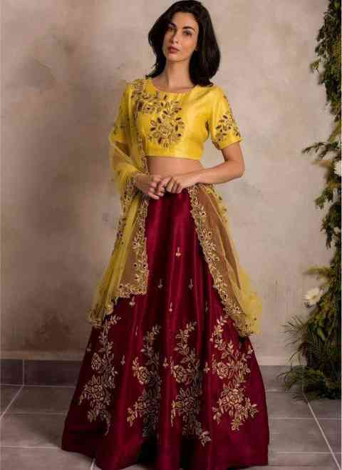 Maroon Colour Taffeta Silk With Embroidery Work Lehenga Choli With Dupatta - LC191