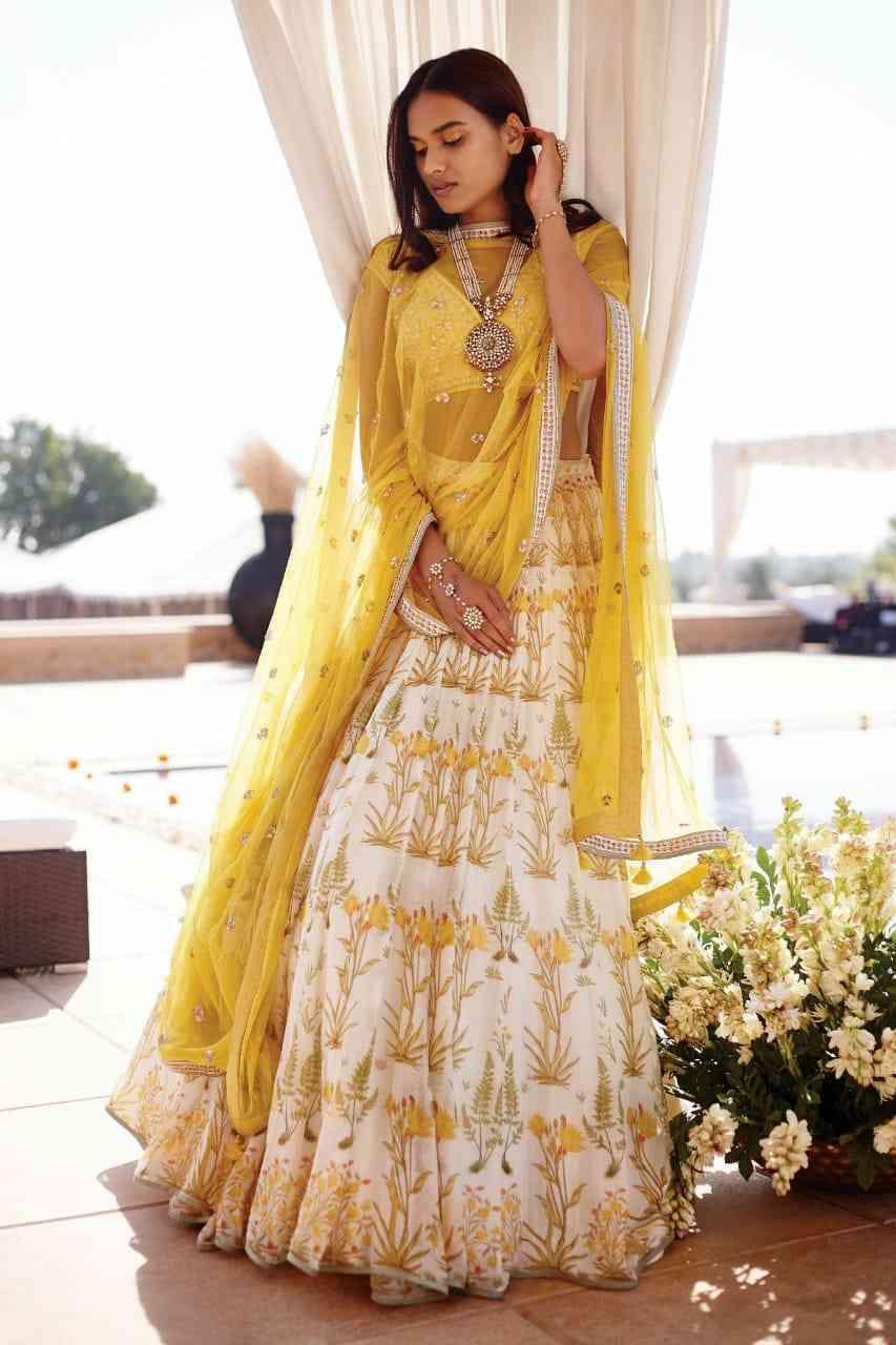 Embroidary Work Taffeta Silk Yellow Colored Lehnga Choli With Dupatta - LC200