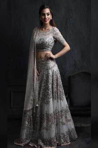 Outstanding Grey Colored Net Fabric Designer Embroidered Lehenga Choli With Dupatta - LC239