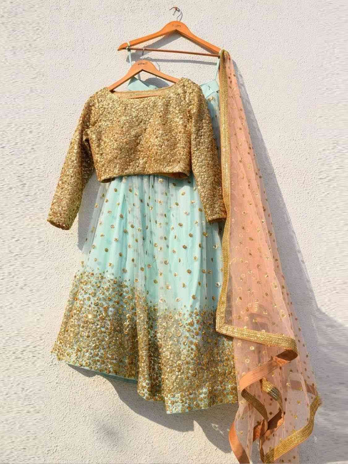SKY BLUE SEQUENCES LEHENGA WITH SEQUENCE BLOUSE AND PEACH SEQUENCES DUPATTA - LC34