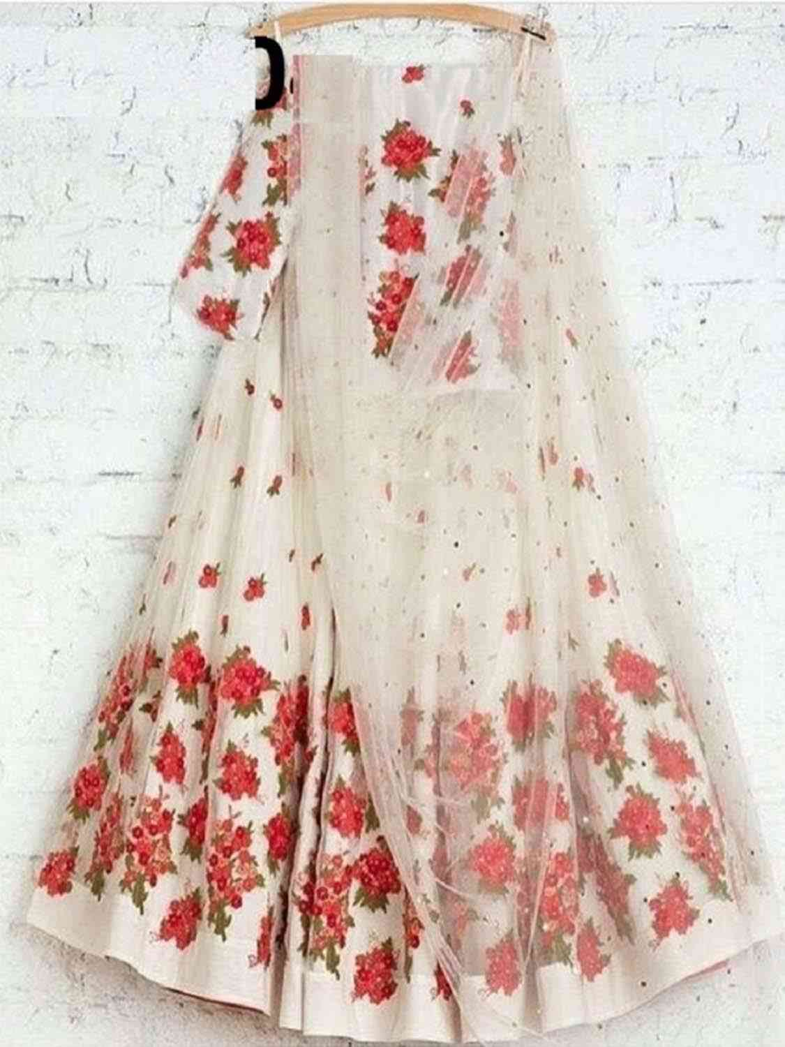 Charming White Color Bangalory Silk Indian Latest Designer Bridal Lehenga Choli - LC46
