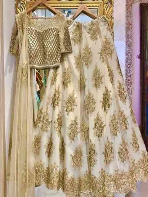 Extraordinary Golden Designer Embroidered Partywear Lehenga Choli With Dupatta - LC71