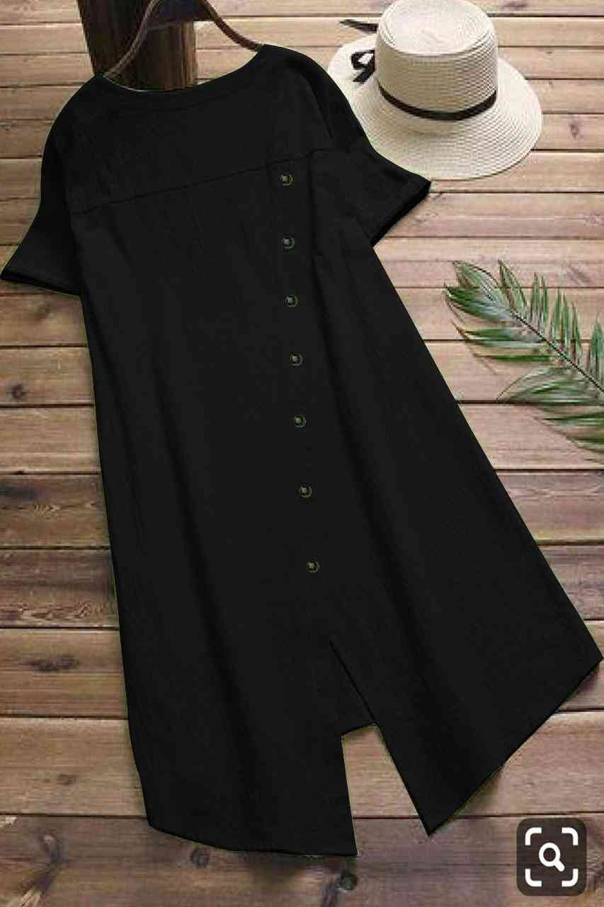 Pocket Style Pure Slub Cotton Black Colored Kurti  - MAJISHASCK102