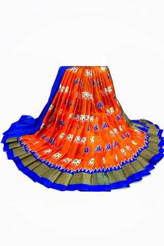 """Divine Orange and Blue Color Silk Fabric Saree - MIORNGBL  30"""""""