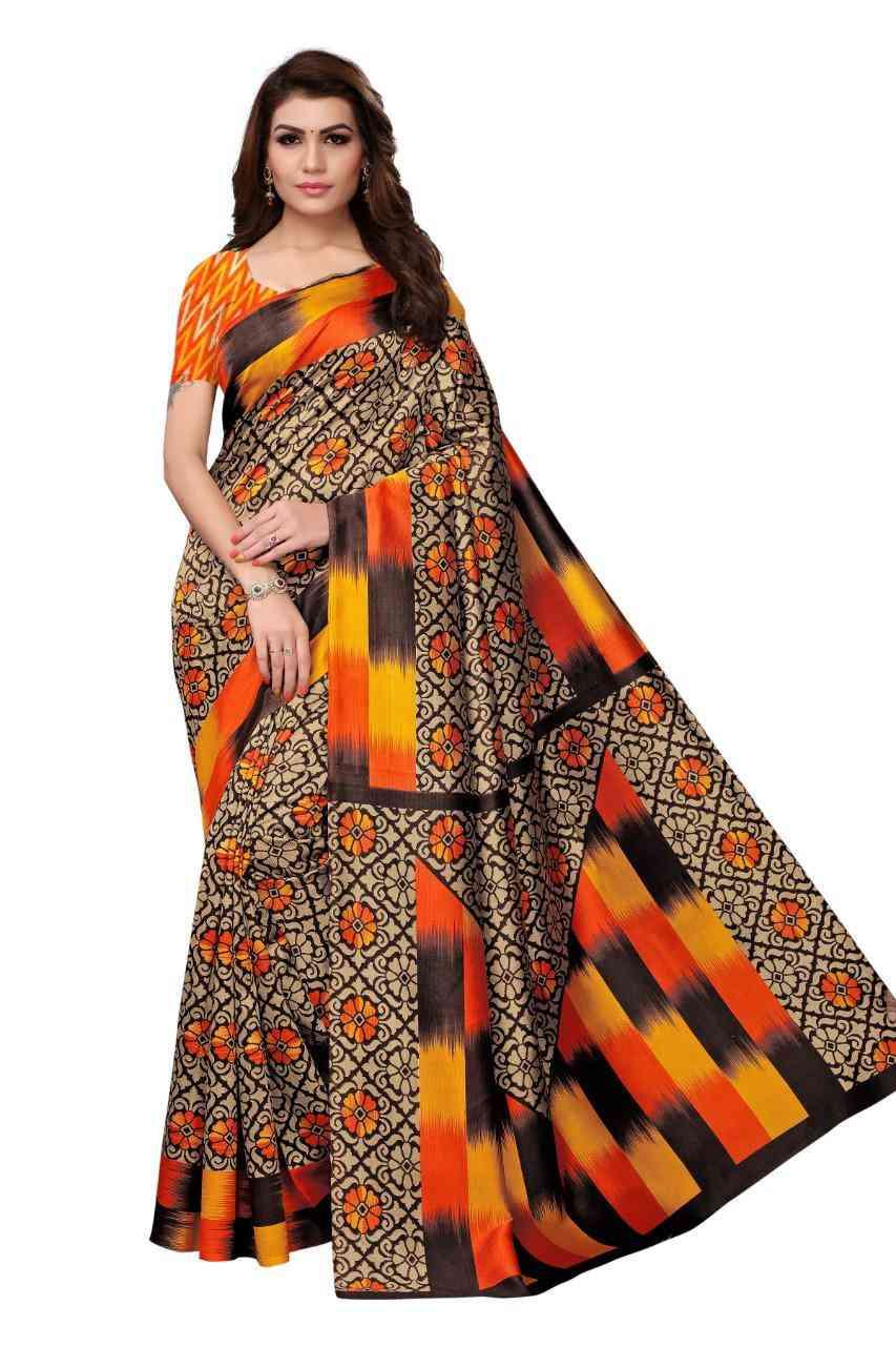 Womens Mysore Silk Kalamkari and Bhagalpuri Style Saree with Blouse Piece  MS01