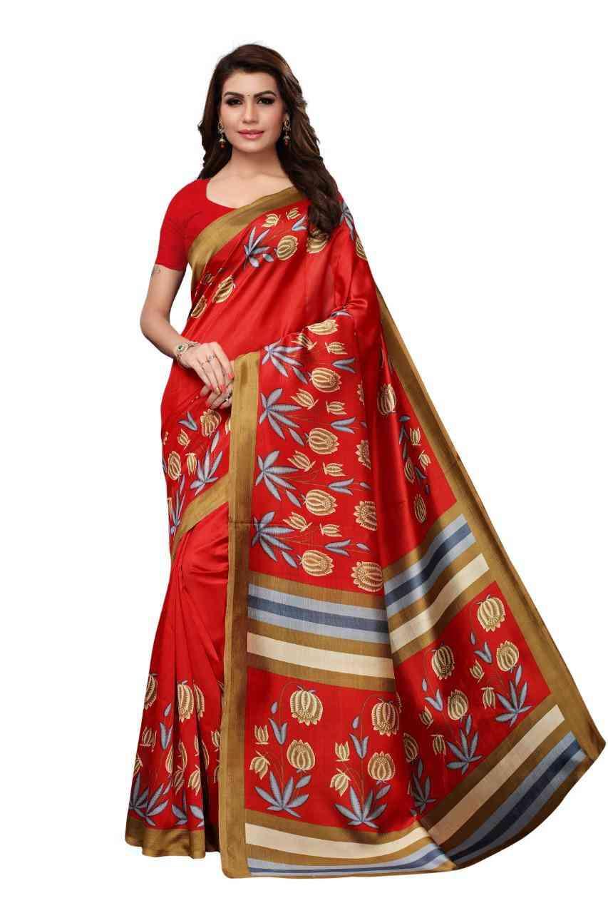 Graceful Womens Red Colored Festive Wear Kalamkari Style Mysore Silk Saree  MS15