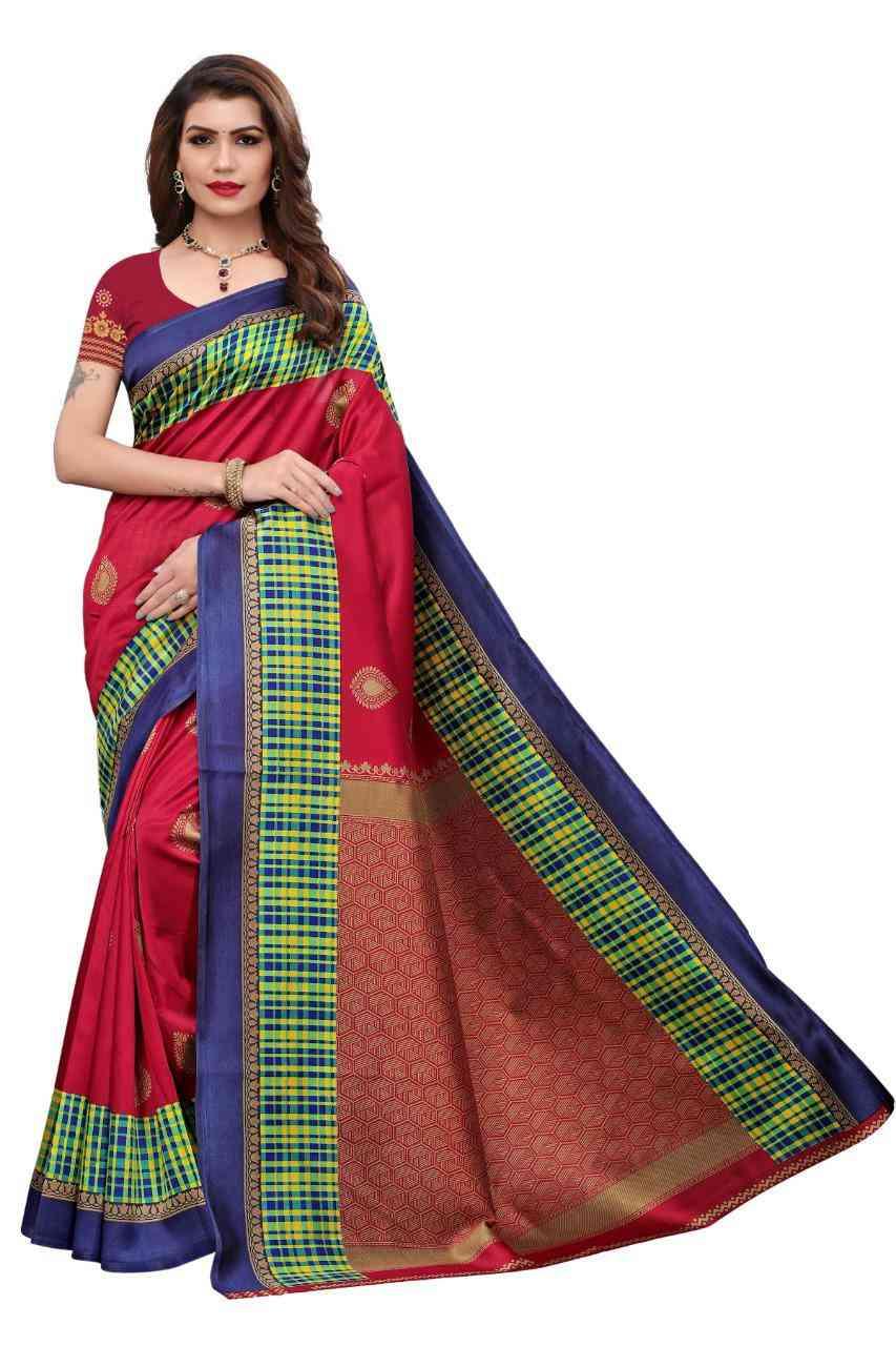 Red-Blue Colored Festive Wear Kalamkari Style Mysore Silk Saree For Women  MS19