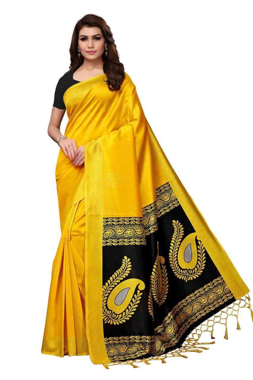Unique Yellow Colored Festive Wear Mysore Silk Saree For Women  MS53