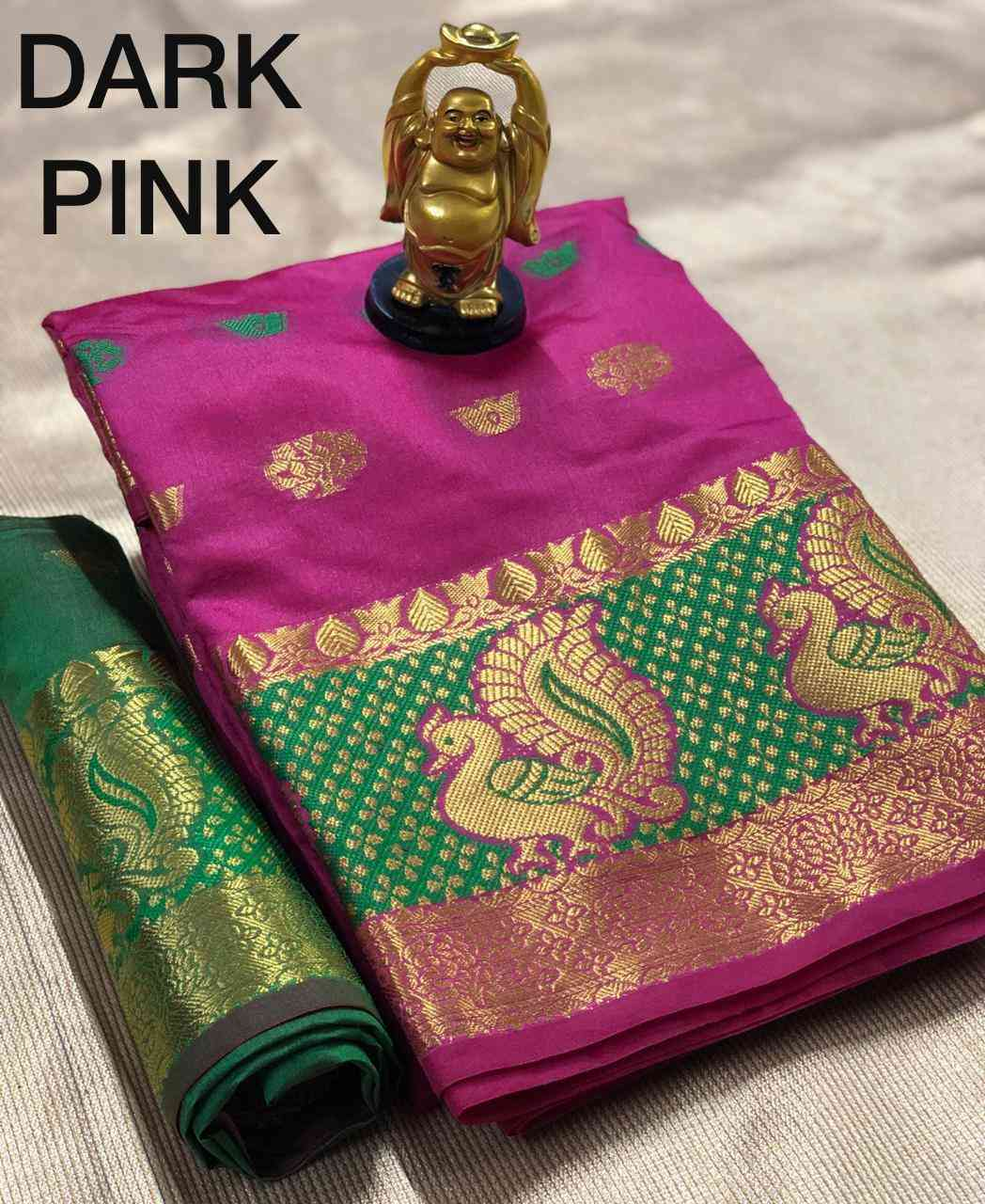 Dark Pink Pure Cotton Silk Saree With Contrast Pallu And Contrast Matching Blouse
