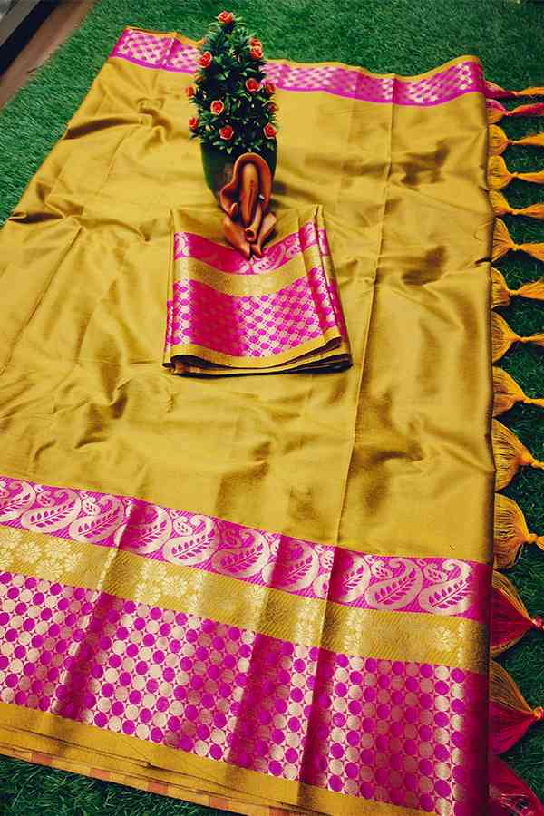 Mustard Yellow Cotton Aura silk Contrast Pallu And Maching Border Blouse