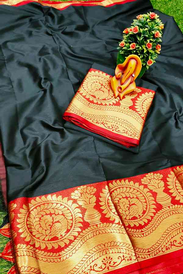 Black Pure cotton silk saree contrast pallu and Running Border Blouse