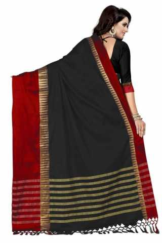 Innovative Black Color Cotton Silk Red Border Saree - NCSBlkRED